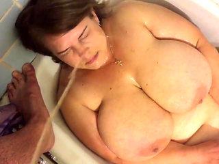SK1 pissing on russian prostitute  big tit milf in bathroom