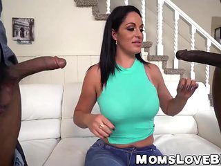 Voluptuous MILF sucks on a bbc while getting slammed hard