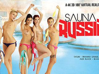 Alex Black & Kattie Gold & Rihanna Samuel & Silvia Dellai & Sweet Cat in Sauna Russian Style part...