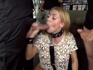Blonde double penetration in public