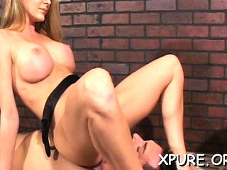 Robust gal shows a guy what female domination means