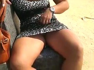 She lets me film her pussy touching it in the public place