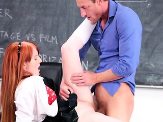 Redhead slut Krystal Orchid enjoys banging with her teacher