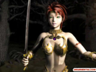 Redhead 3d anime cutie gangbanged by monsters in the forest