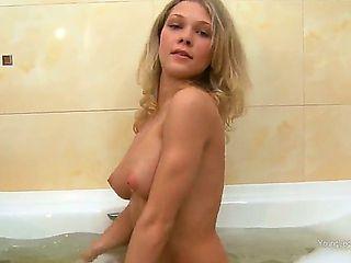 Sweet chick Karen has lascivious ass and pretty natural boobs and she masturbates so tenderly whi...
