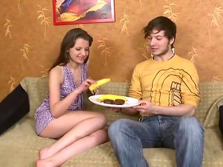 Homemade junior russian young couple