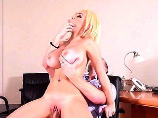 Big tits pornstar handjob and cum on tits