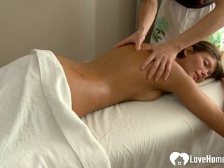 Banging a beautiful brunette on the massage table