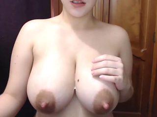 Milky nipples self sucking and spraying