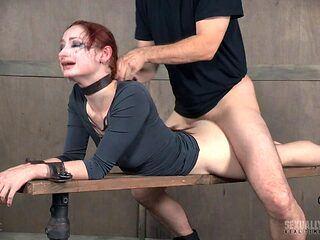 Redhead dame hair getting pulled when fucked hardcore in BDSM