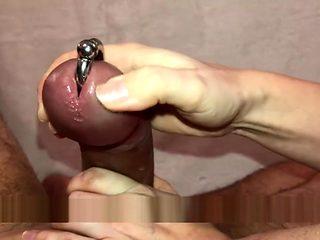 HOT WAX Handjob - Fat Pierced Cock - Prince Albert - Cum out of Piercing!