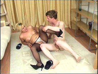 Blonde european milf enjoys hard cock