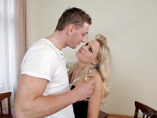 Ravishing blonde Bara Brass takes the dick into her tight asshole