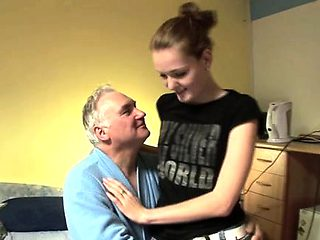 Old and young action with hawt babe seducing dad