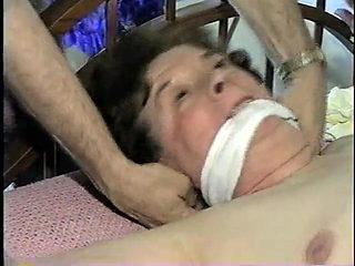 Granny nude hogtied