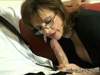 British Milf Lady Sonia sucks a huge cock and gets cumshot