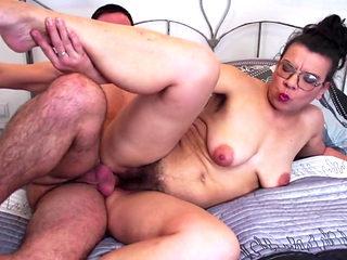 Son seduce and fuck mature hairy mom