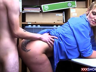 Horny shoplifter guy fucks the sexy security officer