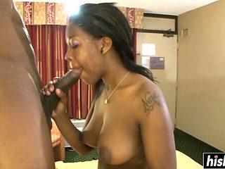 Ebony hottie has fun with a friend