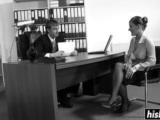 Hot Brunette Secretary Seduces Her Boss