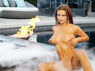 Hot Blonde Stripping In The Pool (Softcore)