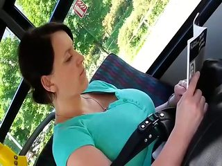 Alluring mature woman on the bus