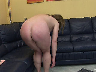 On her comfy leather daybed preggy lady savors the fun of masturbation