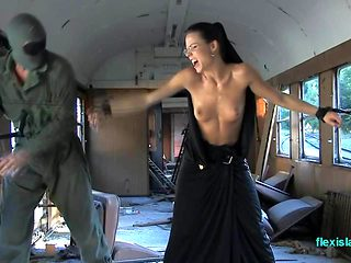 BDSM model Alex Zothberg dominated tied whipped nude train