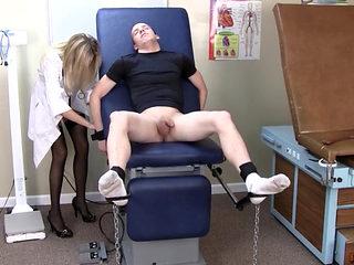 Dr Handjob Makes Her Patient Blow His Load