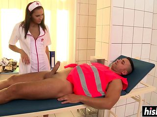 Skinny nurse has fun with a patient
