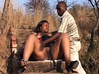Fat African Babe Dominated Outdoors Humiliated