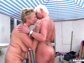 German mature lesbians having an outdoor party
