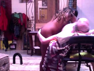 Sexy Ebony Escort sex on massage table with older man