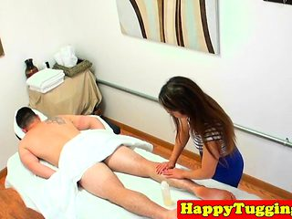 Real asian masseuse jerks dick till cumshot
