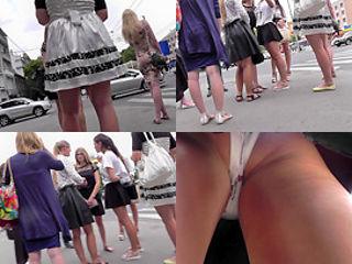 Classic panties of a hottie seen in free upskirt video