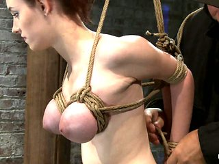 Huge Titted 19yr Old Suffers A Category 5 Suspension  Hung By Boobs, Elbows And Pussy. - HogTied