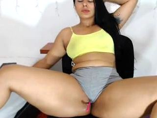 latina in grey panties with nice fat pussy frontal