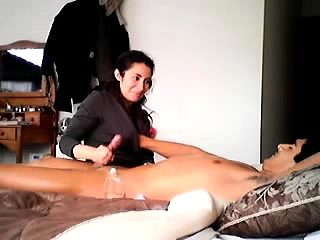 CFNM handjob amateur lovers having fun with dick