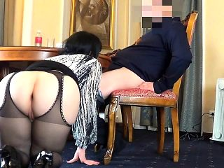 Foxy brunette gives a nylon blowjob before raw screwing in