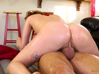 Tiny tits girl rubs all over him and rides his cock
